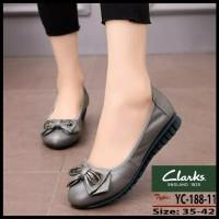 Clarks 188 bow flat sepatu kulit cewek wanita fashion