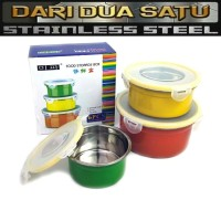 Food Container Mixing Bowl Stainless Warna 3 pc