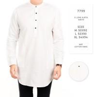 Kemeja Kurta Pakistan Putih Polos /Baju Gamis Koko Muslim pria 7799