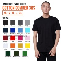 Kaos Polos Cotton Combed 30s Lengan Pendek Yarn Spindle Eco Soft
