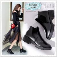 1088 Ankle Heel Heels Boots Pendek Kulit Leather Wanita Korea Import