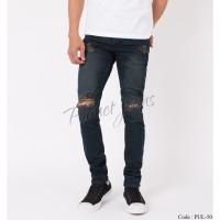 Celana jeans skinny pria sobek / robek skiny ripped cowok premium HQ