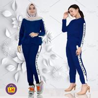 LMS 06156 Baju Setelan Olahraga Senam Training Wanita New BLCG XL - Biru