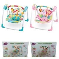 Bouncer Ayunan Deluxe Portable Swing Giraffe Blue & Pink