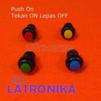 Push On Button Switch Tombol Tekan Hidup Bulat Warna 2 Kaki Pin