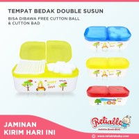 Reliable Tempat Bedak Double Susun | FREE Cutton Ball & Cutton Buds