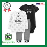 Carters Set 3pc Eat Sleep Be Cute Repeat Baby Girl Original Store /