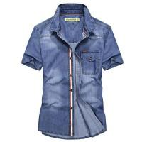 Mz_onlineshop NOR-kemeja jeans pria lengan pendek SEOUL,bahan jeans