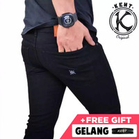 kent long jeans black old / celana jeans slim denim pria / knt 067