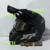 Helm JPX Cross Hitam dop dan goggle iridium silver not helm LTD