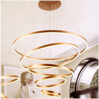 Lampu hias gantung tangga ring cincin led 346watt color bronze susun 5
