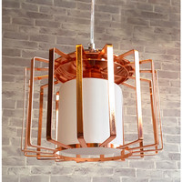 Lampu gantung cafe meja makan indoor white glass iron cage rose gold