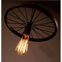 Lampu hias gantung velg cafe meja makan black iron wheel retro lights