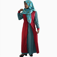 Long Dress Gamis maxi Wanita Muslim kombinasi warna - Jfashion Chessy