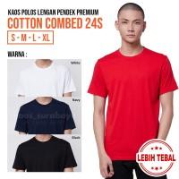 Kaos Polos Cotton Combed 24s Lengan Pendek Yarn Spindle Premium - BLACK, L