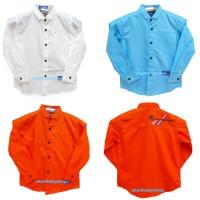 kemeja lengan panjang anak laki 7-12 Y kemeja putih orange biru anak