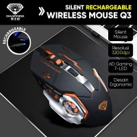 Mouse Wireless Gaming Charging Silent 2.4Ghz 7 Color RGB Divipard Q3