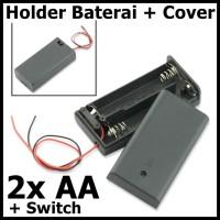 2x AA Battery Holder Baterai Case Batere Box Kotak Batre dengan Tutup