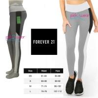Celana senam legging fitness sport light grey side stripe & band white