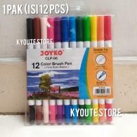 Joyko Brush Pen Color Set 12 pcs Pack Dual Tip Lettering Kaligrafi DIY