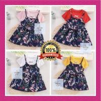 Dress Anak Motif Floral Flower Premium Quality Best Seller! - M, Merah Muda