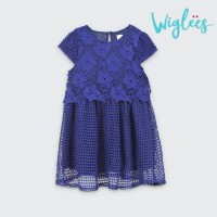 Baju Dress wiglees Anak Perempuan Navy Floral Lace Layered/Gaun Pesta