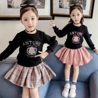Promo Baby Girl Long Sleeve Letter Pattern Sweatshirt + Plaid Skirts