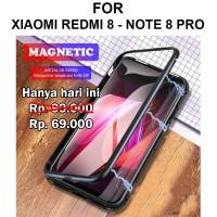 Case Xiaomi Redmi 8 - Note 8 Pro casing cover tempered glass MAGNETIC - Redmi 8, Hitam