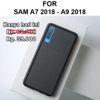 Frosted case Samsung A7 2018 - A9 2018 casing cover bumper fuze matte - A7 2018, Hitam