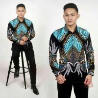 Kemeja Batik Pria Lengan Panjang biru laut