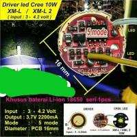 DRIVER LED CREE 10W XML XML2 XPI XPL T6 U2 2200 mA 5 mode nyala Diam