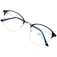 Jual Frame Kacamata Korea Wanita Pria OPPA OP12 BLSV Hitam Silv Bulat