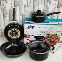 GSF Cookware Set 6 Pcs Enamel 1831 Panci Wajan Frypan Tutup Kaca