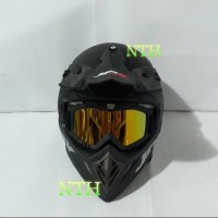 Helm JPX Cross hitam dop dan goggle Iridium gold.Bukan Helm LTD
