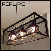 Lampu gantung meja makan cafe pendant lights 3 glass cage iron ball