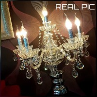 Lampu hias meja makan cabang 6 crystal candle table lamp flower glass