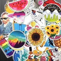 53 Pcs Stiker Cartoon Vsco Girl Yellow INS STYLE Rimowa Sticker Koper