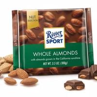 Coklat dengan kacang almond Ritter sport whole almonds 100g