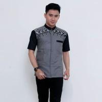 Koko Batik Kombinasi Abu Baju Batik Koko Bordir Pakaian Muslim Pria 15