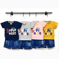 Baju Setelan Anak Bayi Laki Laki Setelan Celana Jeans Super Hero