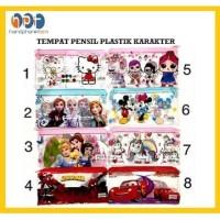 Tempat Pensil Resleting Karakter Anak Kotak Pensil Plastik Seleting