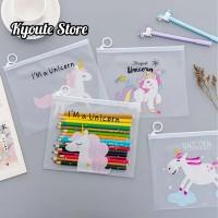 Unicorn Zipper Storage Bag Pouch Penyimpanan Sekolah