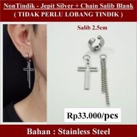 Anting NON Tindik - Jepit Silver + Chain Salib Blank