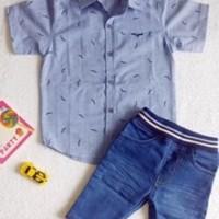 Baju setelan anak bahan jeans kode FE64027