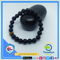 GELANG BATU NATURAL BLACK ONYX TIGER EYE ORIGINAL