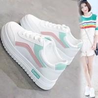 Sepatu wanita Sneakers Lari Korea Casual + Simpul Tali, Warna Putih, u