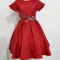 dress lily-casual merah anak bahan satin tebal