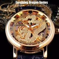 Forsining Jam Tangan Pria Dragon Mode Manual Mekanik Kasual Watches