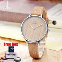 ❤SK Jam Tangan Wanita Arloji dari Kulit Kayu K0078