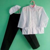 Setelan baju Muslim baju Koko Putih Celana Hitam Anak Tanggung 10